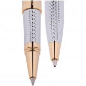 """Набор """"Delucci"""": ручка шариковая, 1мм и ручка-роллер, 0,6мм, синие, корпус серебро, подар. уп."""