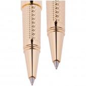 """Набор """"Delucci"""": ручка шариковая, 1мм и ручка-роллер, 0,6мм, синие, корпус золото, подар. уп."""