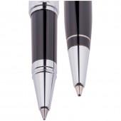 """Набор """"Delucci"""": ручка шариковая, 1мм и ручка-роллер, 0,6 мм., синие, корпус черный, подар. уп."""