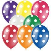 """Воздушные шары, 25шт, М12/30см, """"Горошек"""", ассорти, 8цв., декор, шелк"""