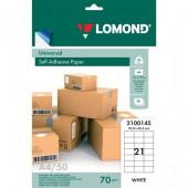 Бумага самоклеящаяся А4 50л. Lomond 21 фр. (70*42,3)
