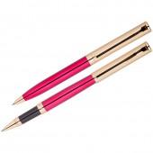 "Набор ""Delucci"": ручка шариковая, 1мм и ручка-роллер, 0,6 мм, синие, корпус вишня/золото, подар. уп."