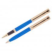 """Набор """"Delucci"""": ручка шариковая, 1мм и ручка-роллер, 0,6 мм, синие, корпус синий/золото, подар. уп."""