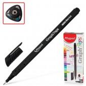 """Ручка капиллярная Maped """"Graph pep'S"""" черная, 0,4мм, трехгранная"""