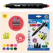 """Фломастеры 16цв, """"640 Maxi Bi-Colour""""  8шт., двусторонние, двуцветные, утолщенные, картон. уп., евро"""