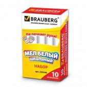 Мел школьный Brauberg, Компл 10шт., круглый, белый, с формулой антипыль, карт.упак., 223548