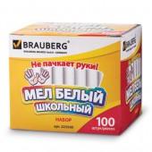 Мел школьный Brauberg, Компл 100шт., круглый, белый, с формулой антипыль, карт.упак., 223550