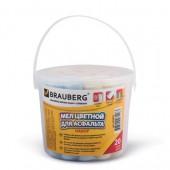Мел цветной Brauberg, Набор 20шт., круглый, для рисования на асфальте, пластиковое ведро, 223557