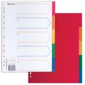 Разделитель пластиковый Brauberg для папок А4, по цветам 5цв., с оглавлением, Цветной, Китай, 221846