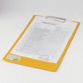"""Доска-планшет Brauberg """"Comfort"""" с верхним прижимом А4, 23*35см, картон/ПВХ, Россия, желтая, 222662"""