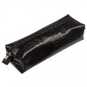 """Пенал-косметичка Brauberg """"Ultra black"""" (Ультра), """"крокодиловая кожа"""",  20*6*4см, 223909"""