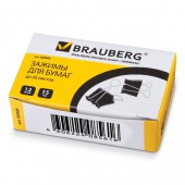 Зажим для бумаг  15мм  12шт/уп., черный, на 45 л., в картонной коробке, 223969, Brauberg
