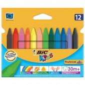 """Восковые мелки BIC """"Plastidecor"""" 12 цв., трехгр., яркие цвета, карт. упак. c европодвесом, 829773"""
