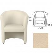 """Кресло """"Club"""" (ш708*г658*в814 мм), c подлокотниками, кожзам, бежевое V18, ш/к 34171"""