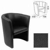 """Кресло """"Club"""" (ш708*г658*в814 мм), c подлокотниками, кожзам, черное V4, ш/к 34195"""