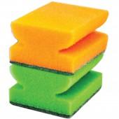"""Губки бытовые универсальные """"Золушка"""", комплект 3шт., чистящий слой, профильные,(в40*ш90*г70мм),4323"""