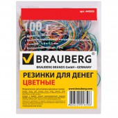 Резинка для денег 100 гр, Brauberg (натур. каучук!) цветные, 180шт. + 5%, 440036