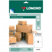 Самоклеящиеся этикетки Lomond на листе формата А4, 2 этик.,размер 210*148,5 мм, белая, 50л.(2100225)