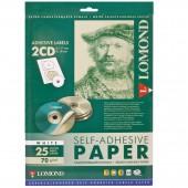Самоклеящиеся этикетки Lomond для CD, на листе ф А4, 2 этик., диаметр 117/18мм, белая, 25л.(2101013)
