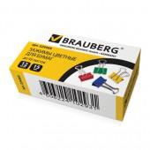 Зажим для бумаг  15мм  12шт/уп., цветной, на 45 л., в картонной коробке, 224469, Brauberg