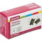 Зажим для бумаг  19мм  12шт/уп., цветной, в картонной коробке, Attache, ст.12