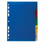 Разделитель пластиковый Офисмаг А5, 5 листов, цифровой 1-5, оглавление, Цветной, Россия, 225629