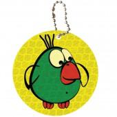 """Брелоки для ключей подвеска Светоотражающий """"Зеленая птичка"""" 50мм, ш/к 40263"""