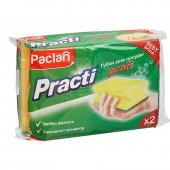 Губка д/посуды Paclan Practi, с выемкой для пальцев, желтые, 2шт./уп., ст.1