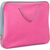 Папка-портфель на молнии, с двумя ручками-шнурами 34х26см, нейлон , розовая ст.1