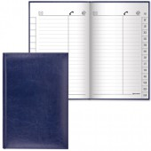 "Записная книжка 136х202мм, 96л, Brauberg, вырубной алфавит, ""Imperial"", А5, под гладкую кожу, темно-синяя, 125040"