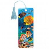 """Закладка для книг 3D, Brauberg, объемная, """"Экзотические рыбки"""", с декоративным шнурком-завязкой, 125779"""